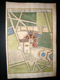 De Fer 1724 Folio H/Col Map Plan. Le Menagerie de Versailles, France